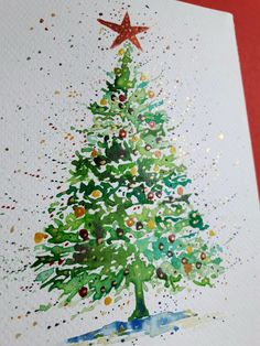 weihnachten aquarell watercolor The small awareness of probably the most intimate feast of the entire year Eieiei, the Christmas cel Watercolor Christmas Tree, Christmas Tree Painting, Christmas Tree Cards, Christmas Drawing, Christmas Tree Themes, Noel Christmas, Xmas Cards, Christmas Crafts, How To Draw Christmas Tree