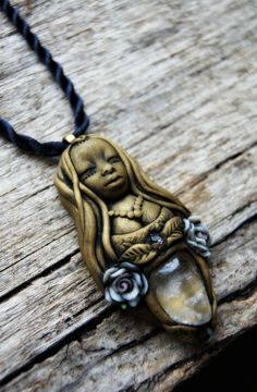 Quartz Goddess Necklace with Roses, OOAK . Handcrafted . Free Shipping
