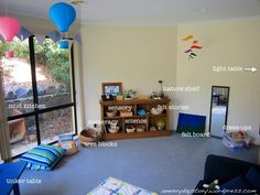 Montessori and Reggio Emilia Inspired Playroom Layout