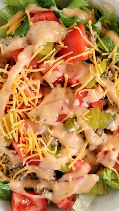 Cheeseburger Salad ~ This easy dinner recipe takes about 20 minutes to prepare