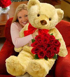 Big Bear with One Dozen Roses