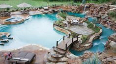 Lagoon, lazy river, waterfall, slide, in water lounging sun deck. Ok yeah everything I need.