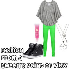 Gray Flowy Shirt, Green Leggings, Black Sneakers, Necklaces, and Pink Lipgloss Tween Fashion, School Fashion, Cute Fashion, Fashion Outfits, Pretty Outfits, Cool Outfits, Little Fashionista, Tween Girls, Kids Outfits