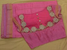Cotton saree with back high neck blouse with aplic work on net 7702919644