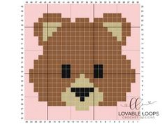 Pixel Crochet, C2c Crochet, Crochet Teddy, Graph Crochet, Cross Stitching, Cross Stitch Embroidery, Cross Stitch Designs, Cross Stitch Patterns, Bear Emoji