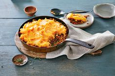 Sweet Potato & Lentil Shepherd's Pie—Comfort food at its best, this vegetarian take on classic shepherd's pie has a sweet potato topping and flavourful lentil filling that is sure to satisfy even the most devout meat eater. Sweet Potato Toppings, Sweet Potato Recipes, Savoury Recipes, Canadian Living Recipes, Canadian Food, Whipped Sweet Potatoes, Vegetarian Shepherds Pie, Pie Recipes, Recipies