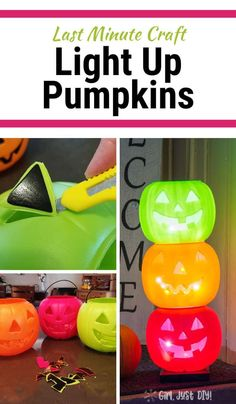 DIY Light Up Pumpkins - Girl, Just DIY! Don't pay crazy prices for Halloween decor. Make this DIY version of light up pumpkins for Halloween using plastic trick-or-treat pumpkins and some sting lights. Halloween Town, Halloween Hacks, Diy Halloween Projects, Diy Halloween Party, Casa Halloween, Hallowen Ideas, Halloween Games For Kids, Halloween Designs, Halloween Porch Decorations