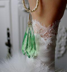 Glasohrringe - Grüne Kristallglas Tropfen Ohrringe - ein Designerstück von Morgentau-Schmuck bei DaWanda