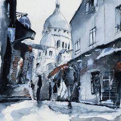 Montmartre sous la neige - Watercolor by Nicolas Jolly. #drawing #watercolor #painting #art