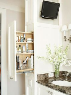 bathroom storage ideas - Re-organize your towels and toiletries during your next round of spring cleaning. Check out some of the best small bathroom storage ideas for Bathroom Renos, Bathroom Storage, Wall Storage, Hidden Storage, Master Bathroom, Bathroom Ideas, Design Bathroom, Cabinet Storage, Bathroom Cabinets