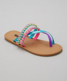 Loving this Neon Turquoise Beaded Sandal on #zulily! #zulilyfinds