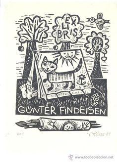Bookplate Richter, opus 201, 1981. Gato Pintura Camping Pájaro