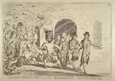 """Integrity retiring from office!""; showing resigning ministers issuing from the arched gateway of the Treasury, led by William Pitt. The Opposition in the guise of a plebeian rabble, are being held back by a grenadier at the point of the bayonet (1801)"
