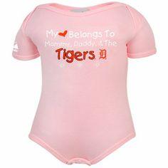 Majestic Detroit Tigers Infant Girls Pink My Heart Belongs Creeper