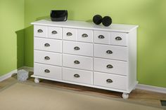 Commode apothicaire en pin massif blanc Roxanne - ENTREE moins cher - MATELPRO