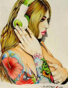 MEGAN DANIELS III - Colourful tattooed portrait by India based artist Soham Sanyal.