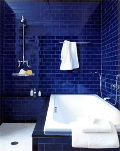 Dreaming in blue bathrooms on pinterest blue bathrooms - Cobalt blue bathroom accessories ...