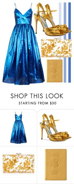 """Gold Flakes"" by cherieaustin ❤ liked on Polyvore featuring Malene Oddershede Bach, Gucci, Charlotte Olympia and Royce Leather"