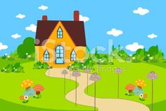 cute house bacground with mushroom royalty-free stock vector art