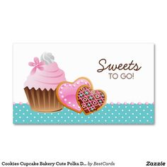 Cookies Cupcake Bakery Cute Polka Dots Modern blue Double-Sided Standard Business Cards (Pack Of 100)