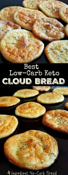 The Best No-Carb Cloud Bread with Only 4 Ingredients I 39 ve tried this Keto Recipes and i made my first recipe Keto Ketogenic Diet Keto Diet Meal Plan Keto Recipes Keto Dinner Recipes Keto Snacks Keto Breakfast Keto Diet For Beginner No Carb Cloud Bread, No Carb Bread, Best Low Carb Bread, No Bread Diet, Easy Cloud Bread Recipe, Low Carb Zucchini Bread, Low Calorie Bread, Bread Carbs, Low Carb Keto