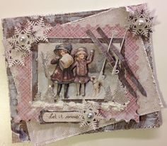 Winter card with Vintage Frost Basics papers. The skis are adie from Marianne Design- Anne Rostad - http://www.annespapercreations.com/2014/01/maja-design-card-kreativ-scrapping-dt.html#comment-form