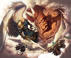 Michael and God's angels take on that old dragon Satan. Hallelujah, the war has already been won by Jesus Christ. War In Heaven by WesTalbott.deviantart