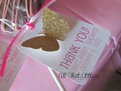 Custom Thank You favor tags with butterflies for baby girl shower. All That Glitters Invitations