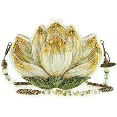 'Revival' Beaded Lotus Flower Handbag ❤ liked on Polyvore featuring bags, handbags, man bag, flower handbags, purse bag, beaded purse and white purse