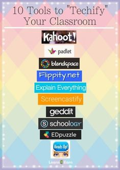 "10 Tools to ""Techify"" your classroom. I love Kahoot, so I'm sure the others are kid friendly too!"
