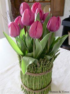 Tulips in Asparagus Vase