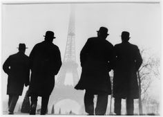 "Else Thalemann - ""Four men back looking at the Eiffel Tower"", about 1925."
