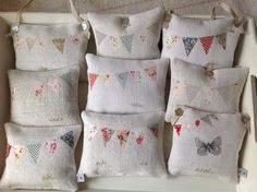 Bunting lavender bags. Embroidered flowers. Summer 2015 T&Linen
