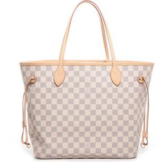 LOUIS VUITTON Damier Azur Neverfull MM ❤ liked on Polyvore featuring bags, handbags, tote bags, purses, accessories, louis vuitton tote, zip tote bag, handbags & purses, pink purse and louis vuitton purses