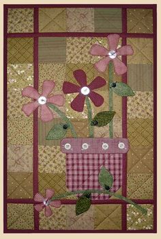 Terra Cotta Wall Quilt Pattern Flowers in Vase Apple Patch Designs Country Style Fabric Quilt Sewing Pattern