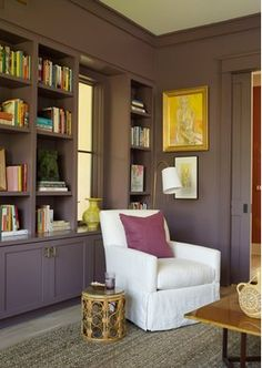 Office and Study in Coastal Living Idea Home by Angie Hranowsky on Interior Door Trim, Painted Interior Doors, Interior Painting, My Living Room, Living Spaces, Purple Rooms, Purple Walls, Purple Yellow, Plum Walls