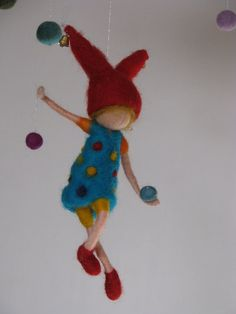 Items similar to Waldorf inspired needle felted mobile - happy gnome juggler on Etsy Needle Felted Ornaments, Felt Ornaments, Mobiles, Resin Crafts, Felt Crafts, Wet Felting, Needle Felting, Felt Mobile, Felt Fairy