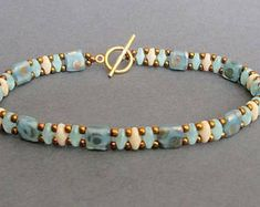 teal beaded bracelet czechmate tile superduo bead bracelet seed bead bracelet boho bracelet gift for her festival brace; Dainty Bracelets, Beaded Wrap Bracelets, Beaded Bracelet Patterns, Seed Bead Bracelets, Ankle Bracelets, Pearl Bracelet, Jewelry Bracelets, Boho Jewelry, Handmade Jewelry