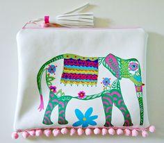 clutch bag hand painted bags elephant art pompom bag boho chic tassel purse vegan leather bag