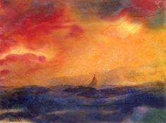 Seascape with Sailboat, Emil Nolde, s.d.