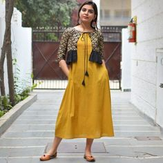 Black Mustard & Gold Hand Block Printed Kedia Dress with Tie Up Detail & Pockets - Rustorange Simple Kurti Designs, Kurti Neck Designs, Kurta Designs Women, Kurti Designs Party Wear, Latest Kurti Designs, Salwar Designs, Frock Fashion, Indian Fashion Dresses, Indian Gowns Dresses
