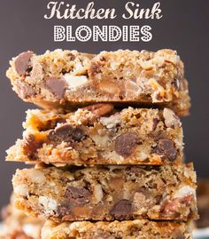 Kitchen Sink Blondies- there is just about everything in these but maybe the kitchen sink! A great way to use up those odds and ends laying around in your cupboard! Be sure to pin this for later!