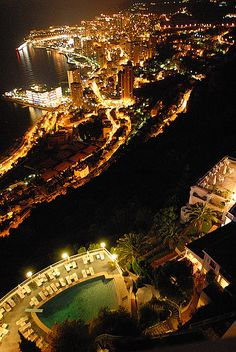 Aerial view at night,  #Monaco.