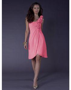 $117.99A-line One Shoulder Hand-Made Flower Sleeveless Knee-length Chiffon Bridesmaid Dresses / Cocktail Dresses / Homecoming Dresses