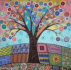 You are dealing with Karla Gerard, Maine Folk Art/Abstract Artist, Originator/Creator of concentric circles/flowers in trees paintings and in landscapes. Over of my original paintings are in worldwide collections. Tree Of Life Art, Tree Art, Karla Gerard, Art Fantaisiste, Inspiration Art, Naive Art, Dot Painting, Painting Trees, Art Design