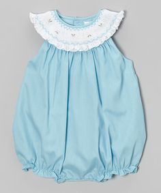 Blue & White Smocked Bubble Romper - Infant | Daily deals for moms, babies and kids