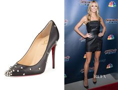 christian louboutin degraspike studded leather red sole pump black