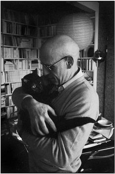 French philosopher Michel  Foucault with his cat. Photo by Rene Burri