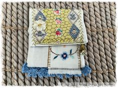 POUCH | Blue & Gold ~ Vintage Lace and linen by CREATEmeDESIGNS on Etsy Vintage Lace, Fabric Scraps, Little Gifts, Doilies, Blue Gold, Gifts For Women, Upcycle, Decorative Boxes, Pouch