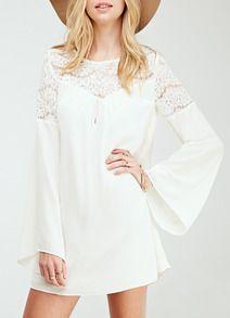 Vestido encaje manga larga-blanco